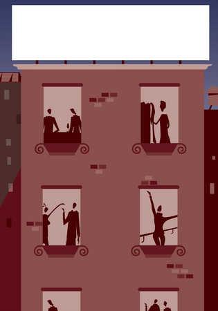 Stock Illustration View Through Windows Of Urban Apartment Building