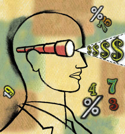 Man with spyglass eye with dollar signs