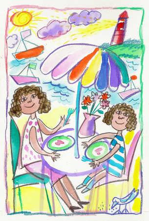 Child's drawing of mother and daughter eating outdoors