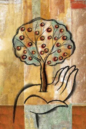 Apple tree growing in open hand