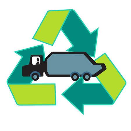 Truck inside recycling symbol