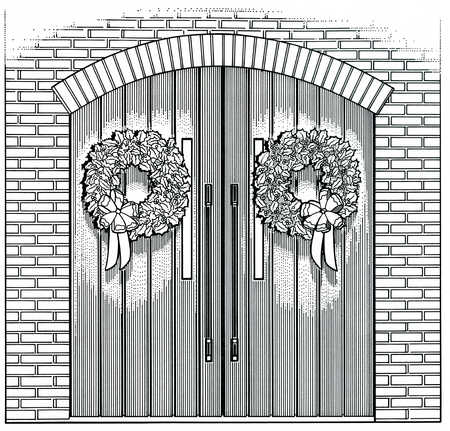 Double doors with wreathes