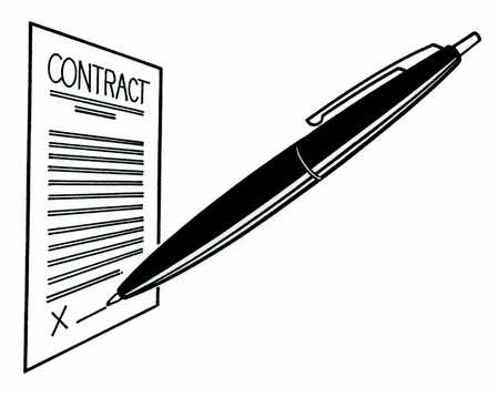 Pen on signature line of contract