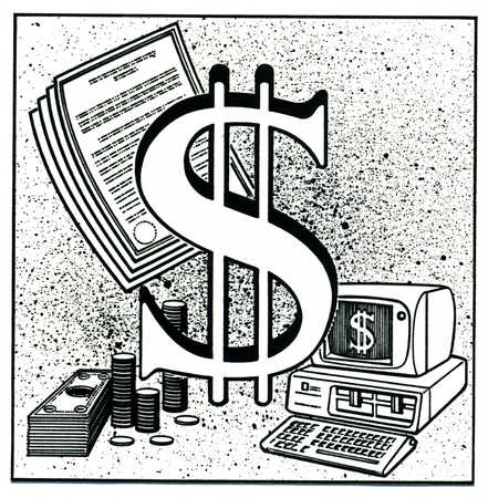 Dollar sign with money, documents and computer in background