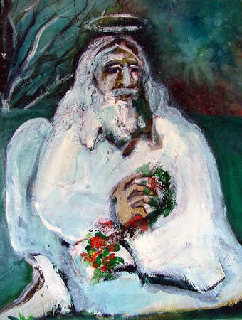 Senior man with halo holding flowers