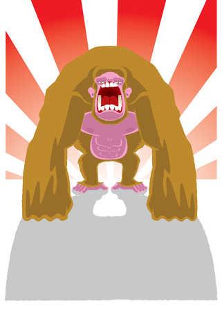 Illustration of gorilla yelling