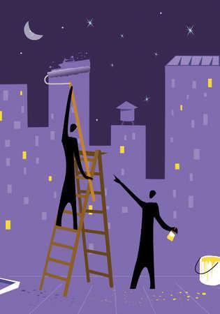 People painting city on night sky