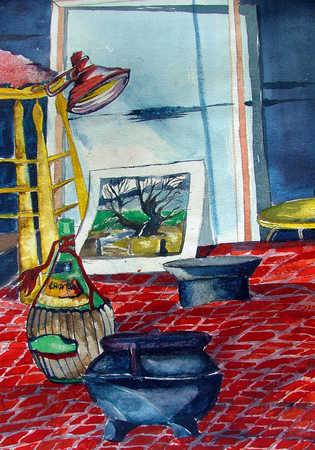 Illustration of art studio