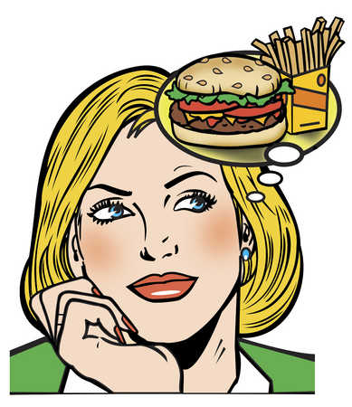 Woman thinking about hamburger and fries