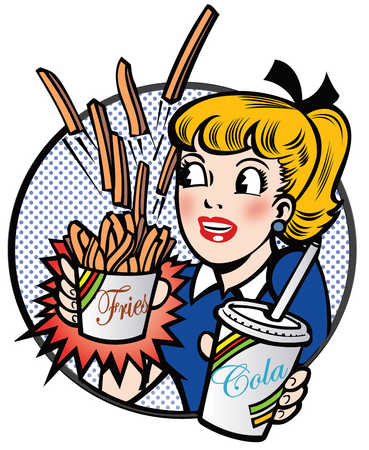 Girl holding cola and fries
