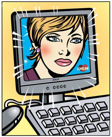 Woman's face on computer screen