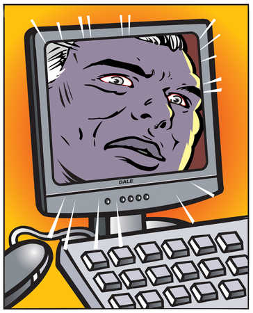 Man's face on computer screen