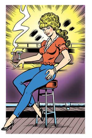 Woman smoking cigarette at bar