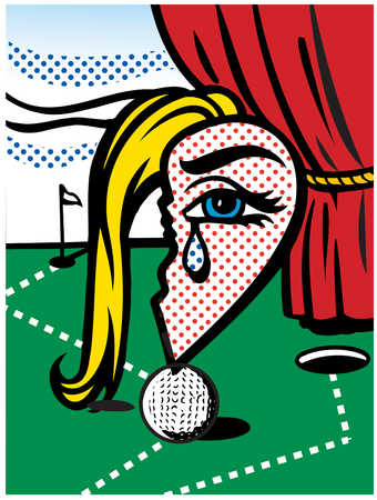 Broken heart with crying eye on golf ball