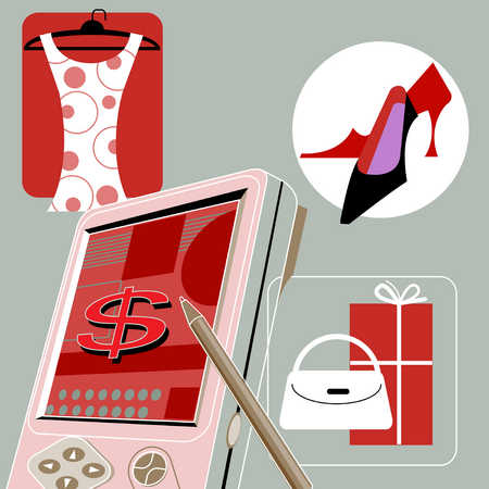 Illustration of dress, shoes, gifts and electronic organizer