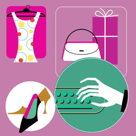 Illustration of dress, shoes, gifts and hand