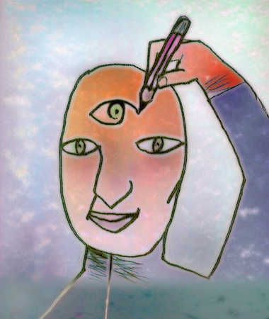 Person drawing third eye on forehead