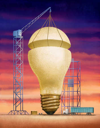 Crane raising top of light bulb
