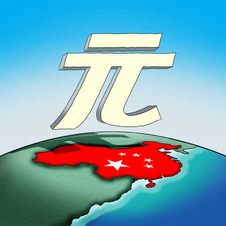 Global currency symbol over country