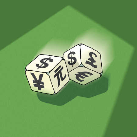 Dice with global currency symbols