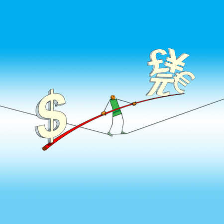 Person tightrope walking with global currency symbols