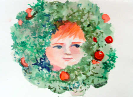 Child's face inside wreath