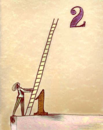 Woman leaning ladder on number one
