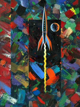 Illustration of rocket taking off