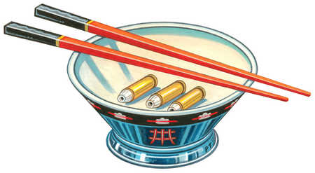 Bowl with chopsticks and bullets