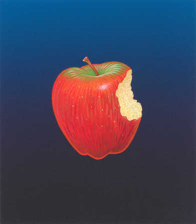 Illustration apple with bite taken out