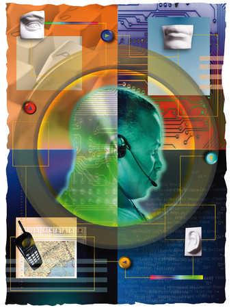 Businessman in headset surrounded by communication images