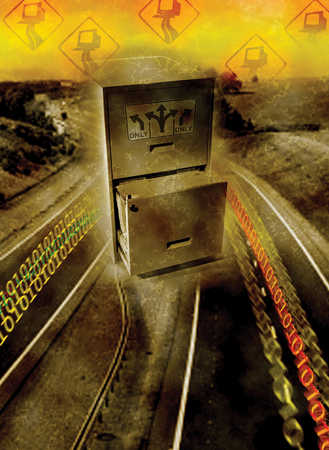File cabinet on highway with binary code