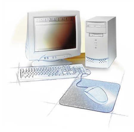 Desktop computer on table