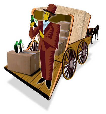 Man with boxes in back of horse-drawn carriage