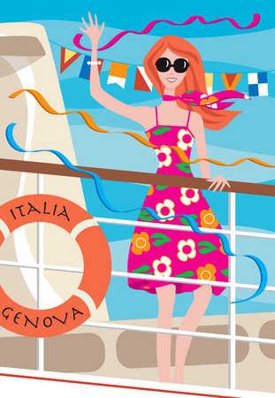 Woman waving from cruise ship