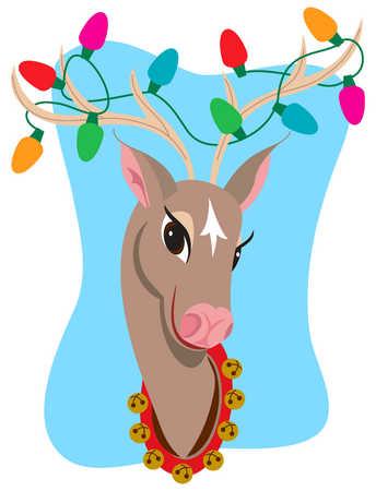 Reindeer with Christmas lights in antlers