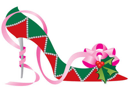 Shoe decorated for Christmas