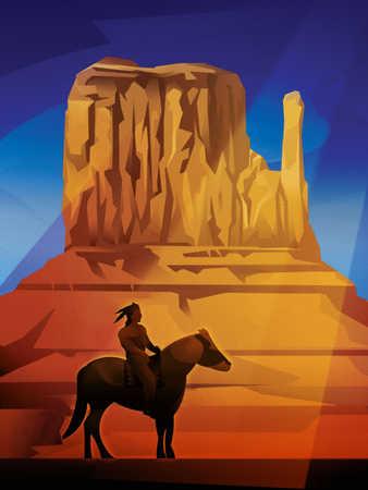 Native American on horse in desert