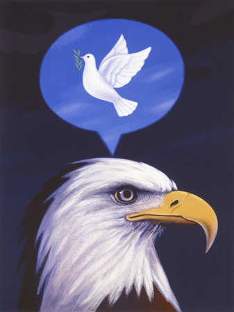 Eagle under dove in thought bubble