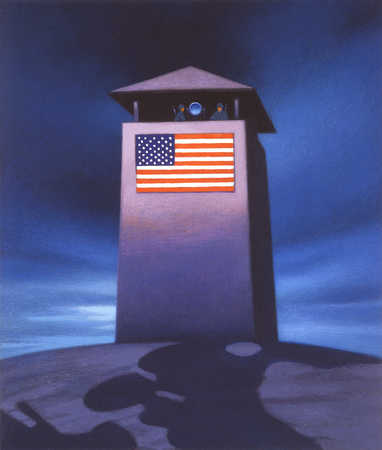 Guard tower with American flag