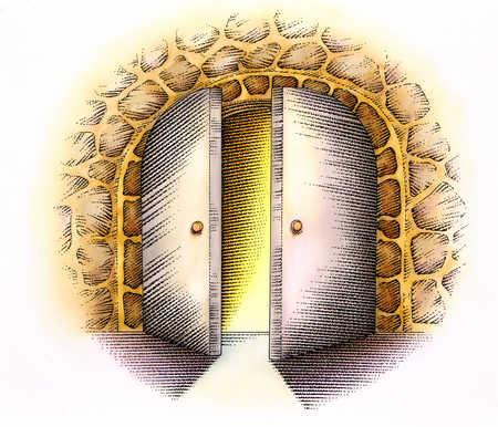 Door Opening Drawing Illustration of Open Doors in