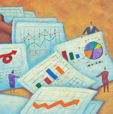Businesspeople with sheets of graphs and charts