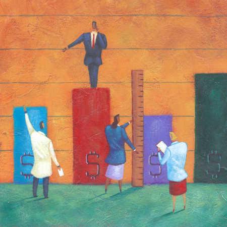 Businesspeople measuring bar graph