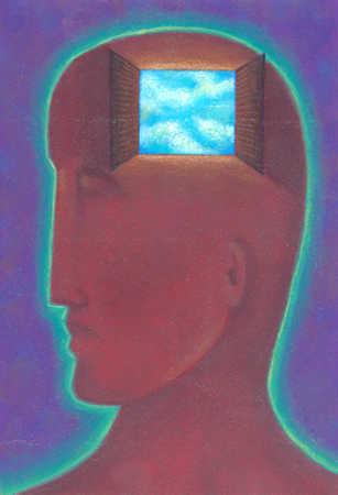 Open window to blue sky inside man's head
