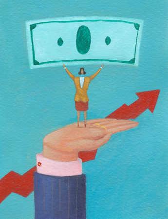 Businesswoman standing on hand holding money