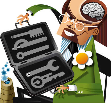Man with brain showing opening box of tools