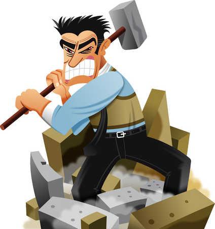 Man wielding sledgehammer