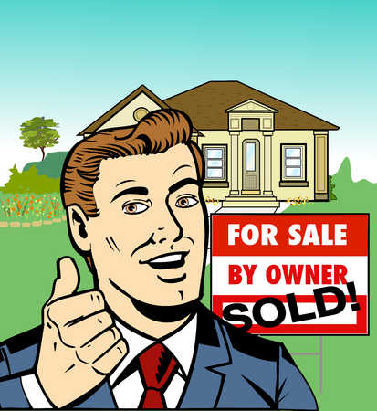Businessman in front of new house