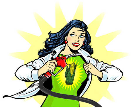 Female superhero with corn on outfit holding gas pump