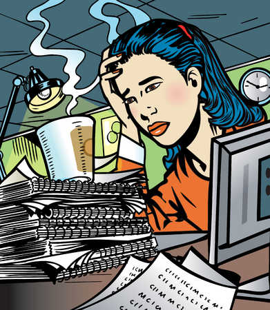 Overworked businesswoman at desk
